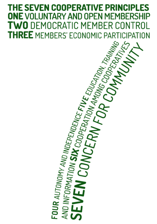 number seven comprised of words spelling out the 7 co-op principles