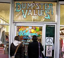 Dumpster Values is a worker collective located at 302 4th Avenue East in  Olympia, WA. that sells vintage clothing and apparel. They have an Etsy shop for on-line orders  and are generally open from 11-7 for in store purchases.